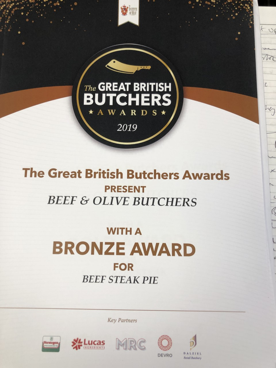Great British Butchers Bronze Award for Beef Steak Pie