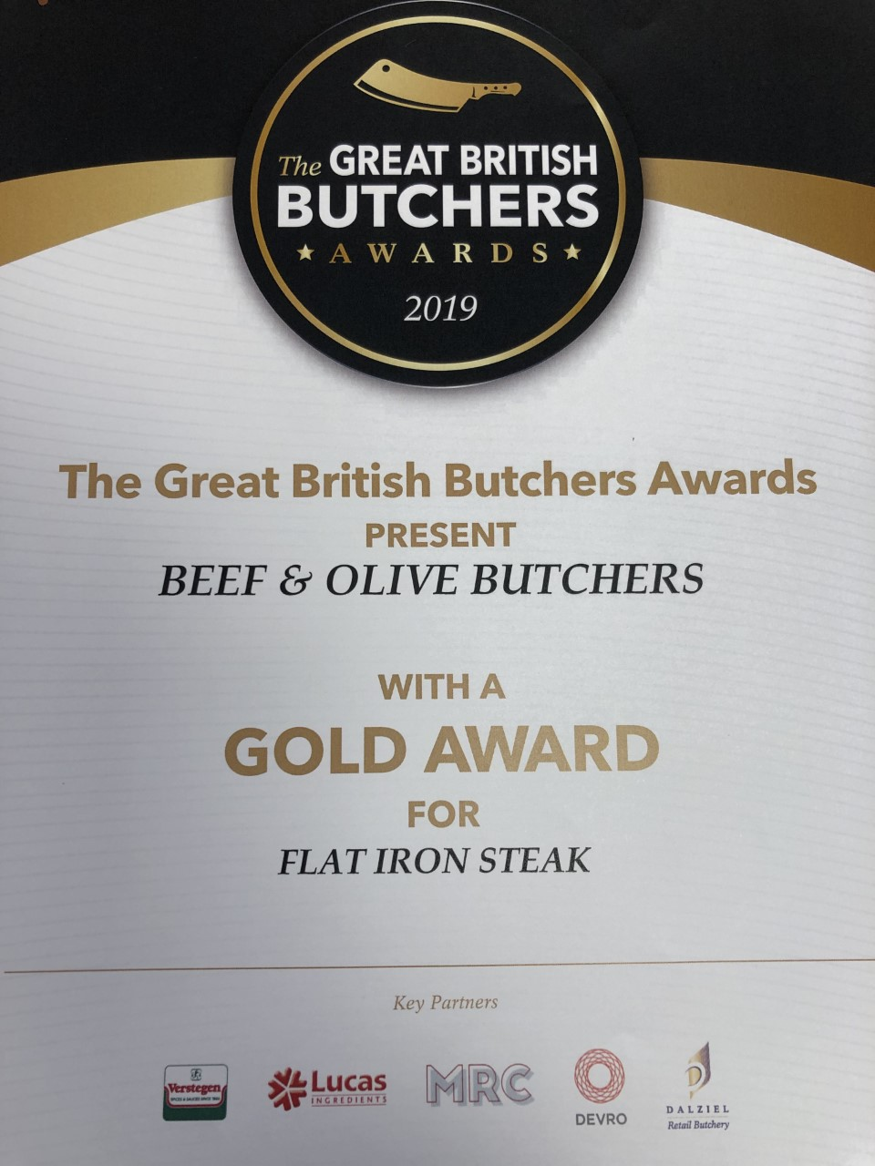 Great British Butchers Gold Award for Flat Iron Steak