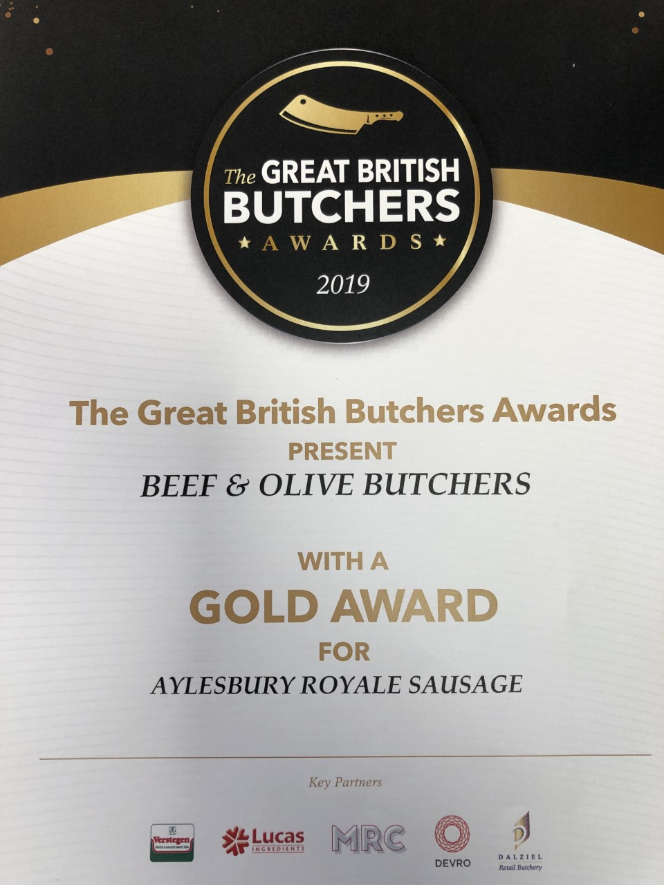 Great British Butchers Gold Award for Aylesbury Royale Sausage